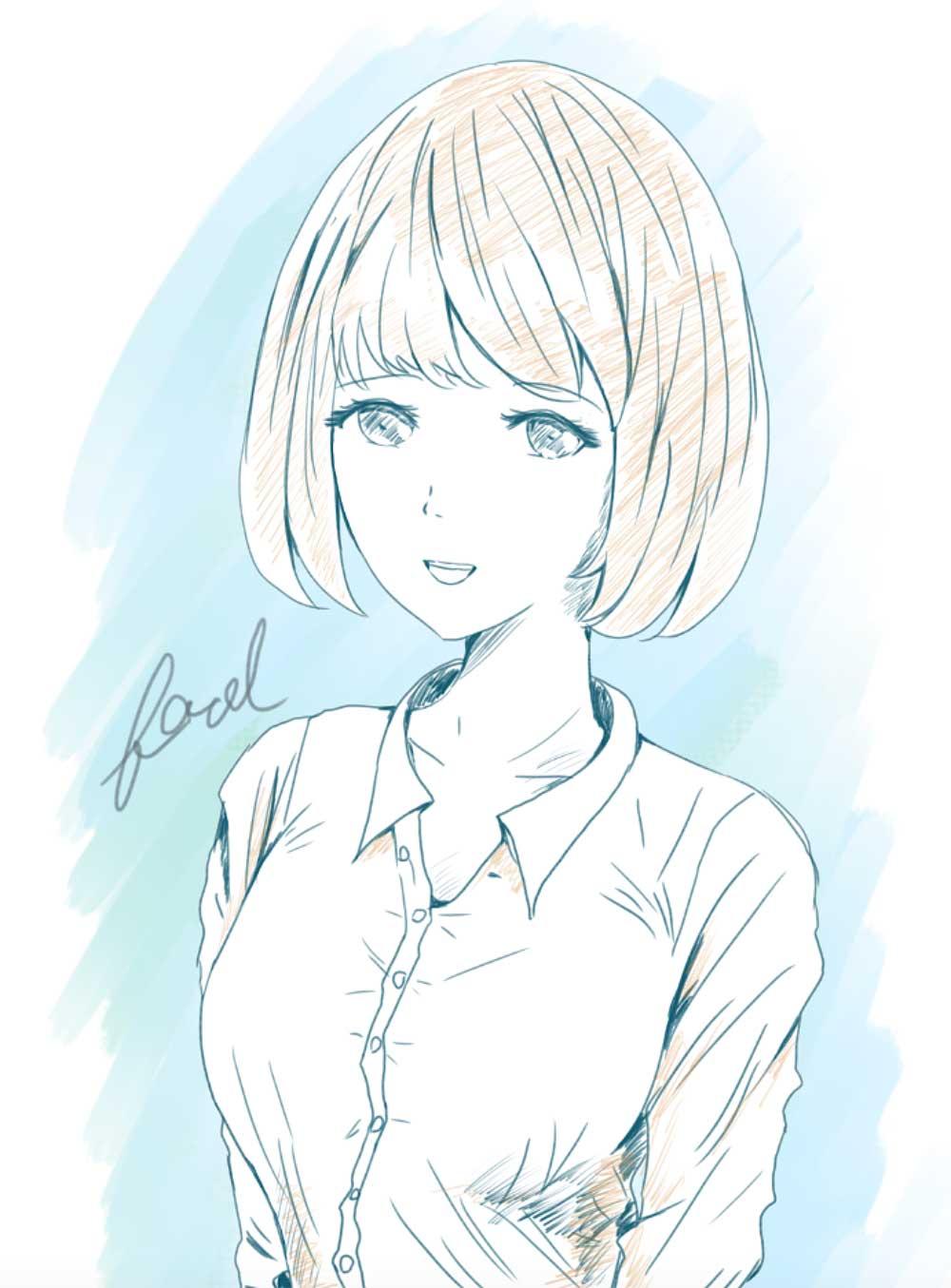 ワイシャツ女の子 - foolのイラスト