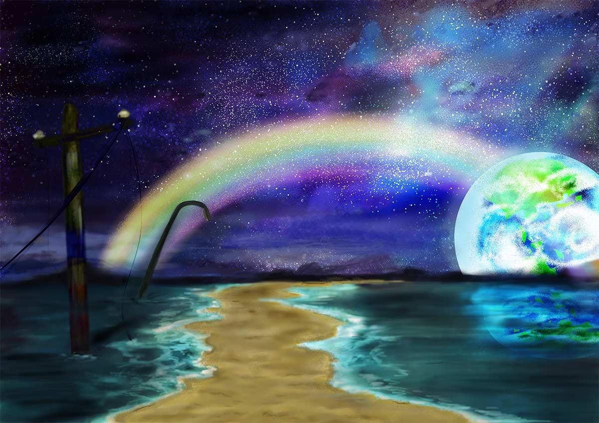宇宙にかかる虹 foolのイラスト