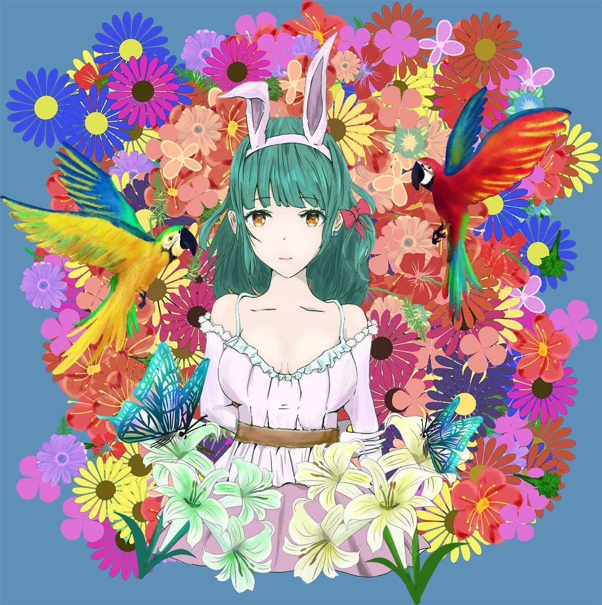 うさちゃん - 花に囲まれた女の子 foolのイラスト