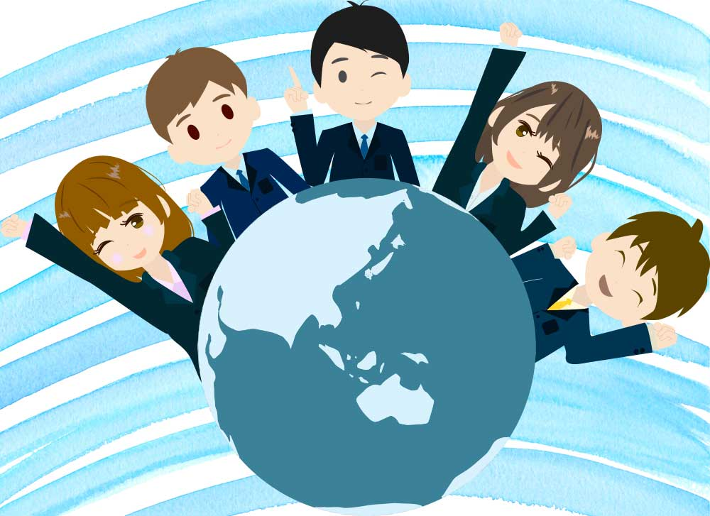 グローバルなビジネスマンのイラスト