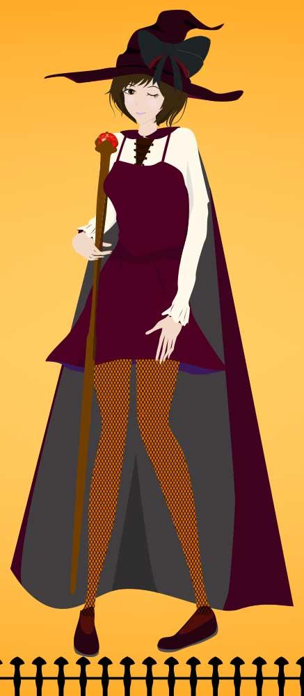 ハロウインの魔女のコスプレをする女性のイラスト