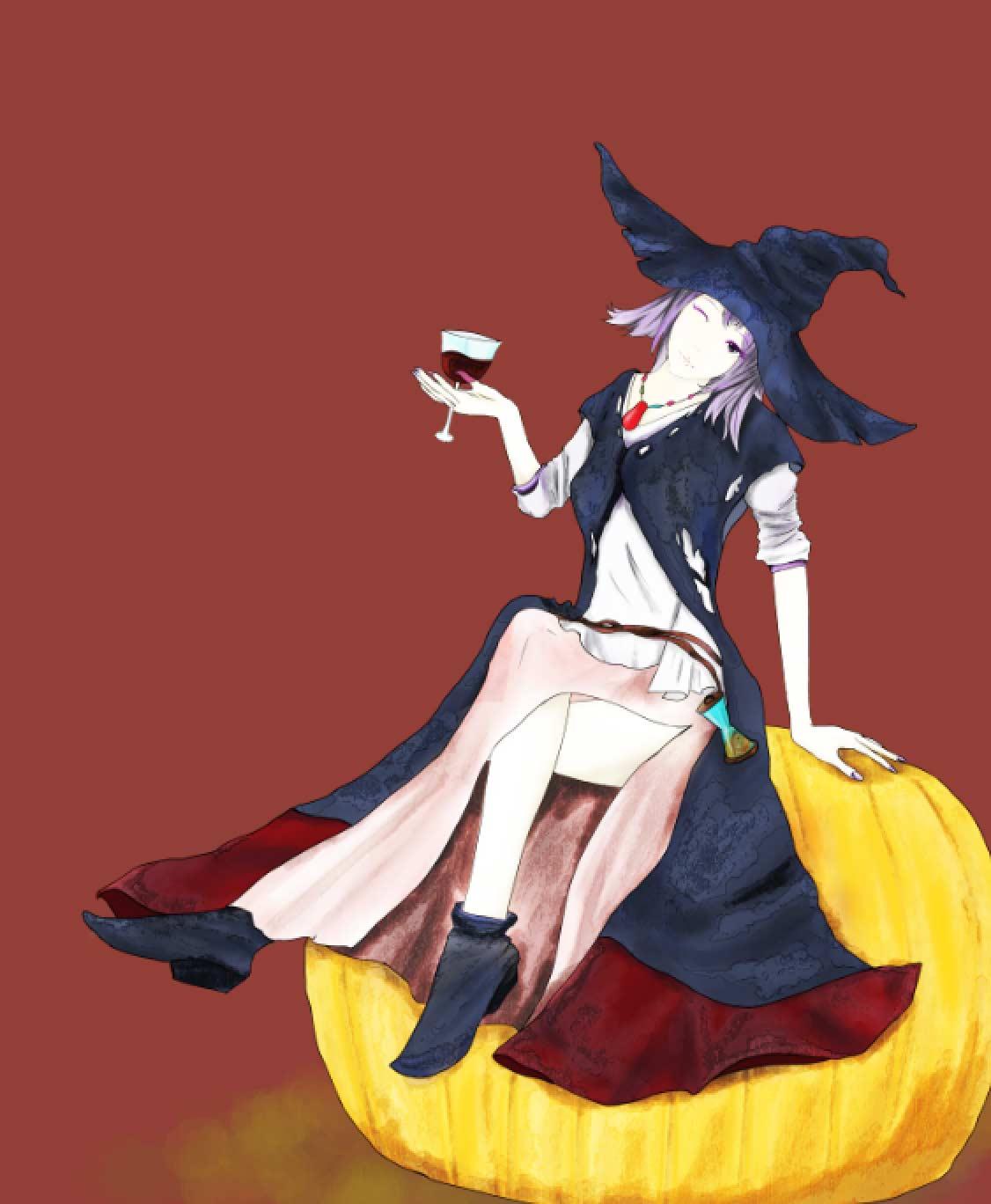 かぼちゃと魔女とワイン foolのイラスト