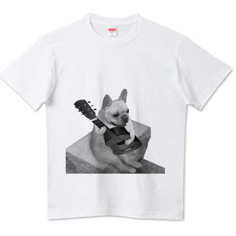 ギターフレンチブルドッグはいクォリティTシャツ