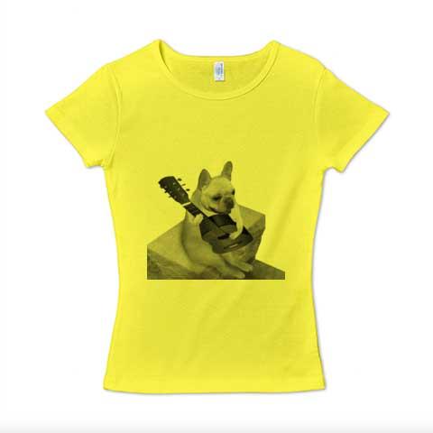 ギターフレンチブルドッグレディースTシャツ メランジグレー