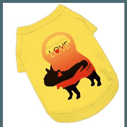 可愛いアートLOVEフレンチドッグのデザインTシャツ