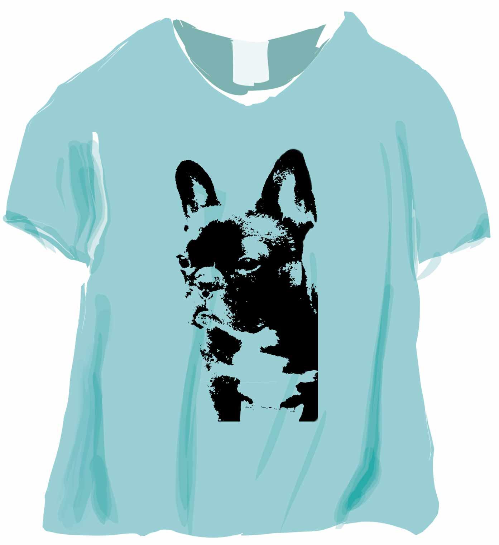 版画のフレンチブルドッグTシャツ