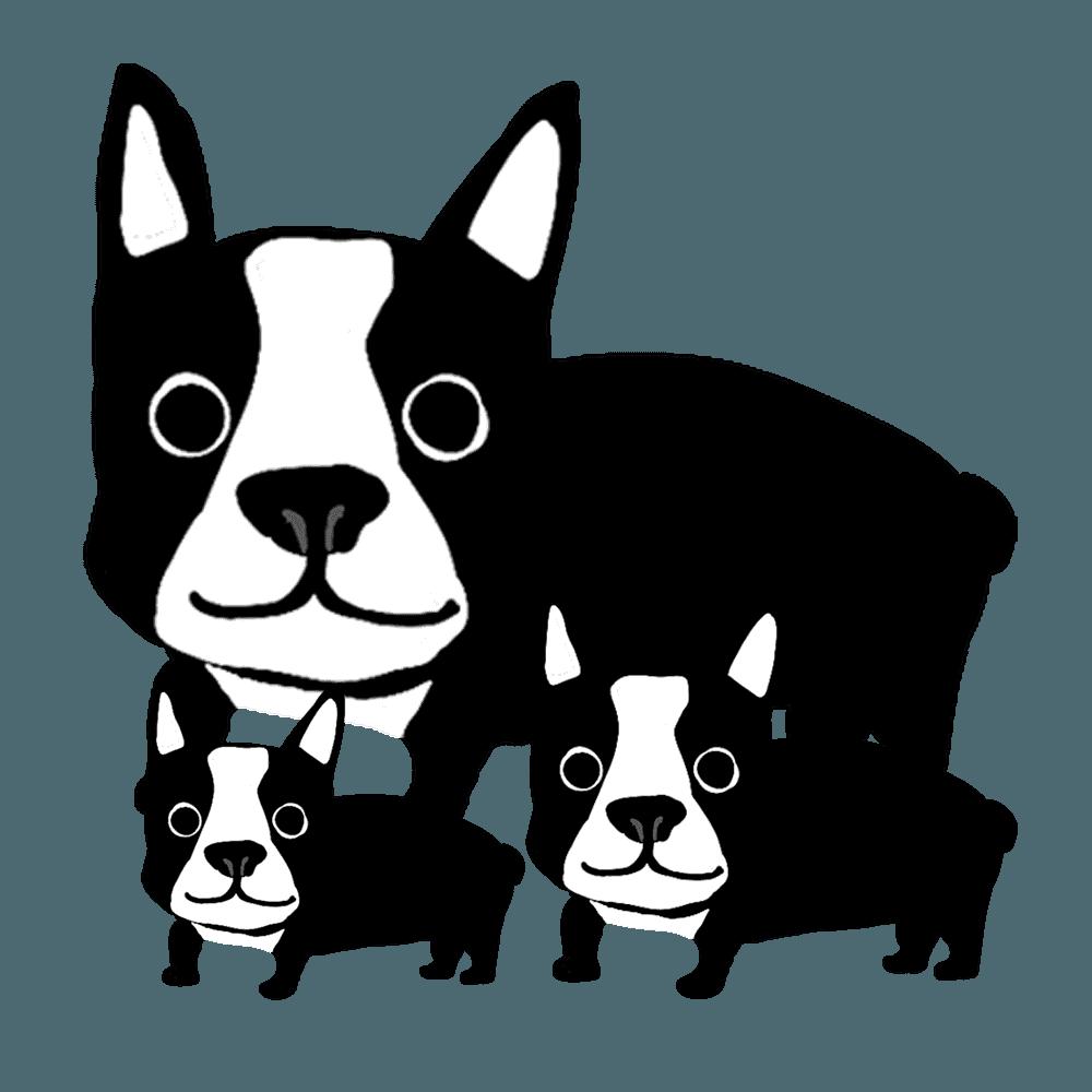 家族のフレンチブルドッグイラスト