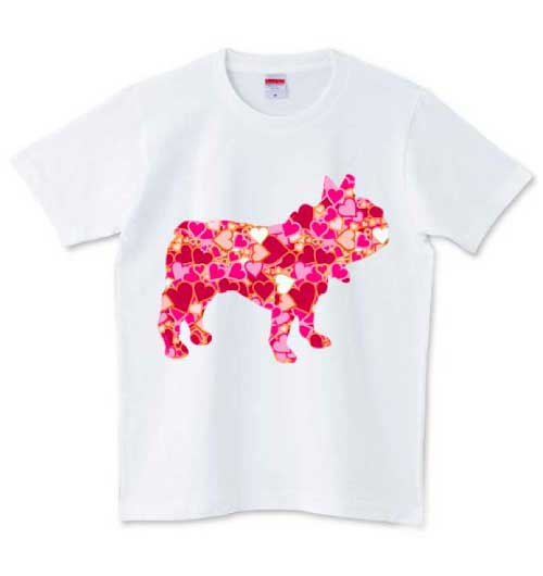 ハートが集まったシルエットフレンチブルドッグTシャツ