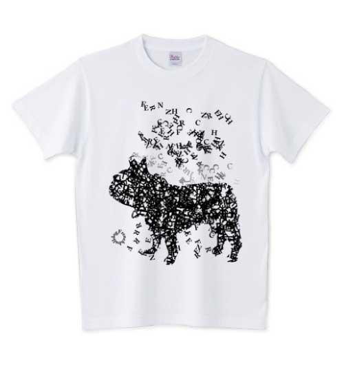 文字が集まってできたタイポフレンチブルドッグTシャツ