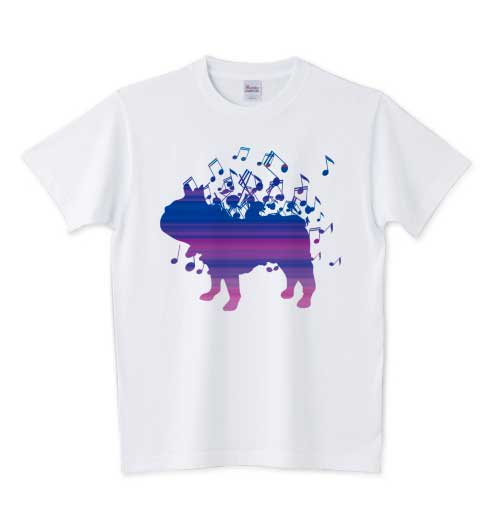音符でできたフレンチブルドッグTシャツ