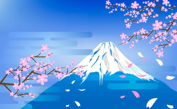 桜と富士山(青)のイラスト
