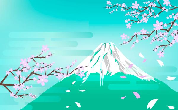 桜と富士山(水色)のイラスト