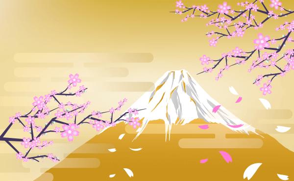 桜と富士山(薄茶)のイラスト
