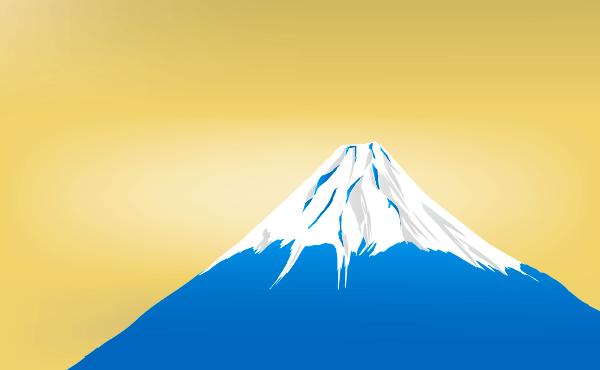 桜と富士山と金のイラスト