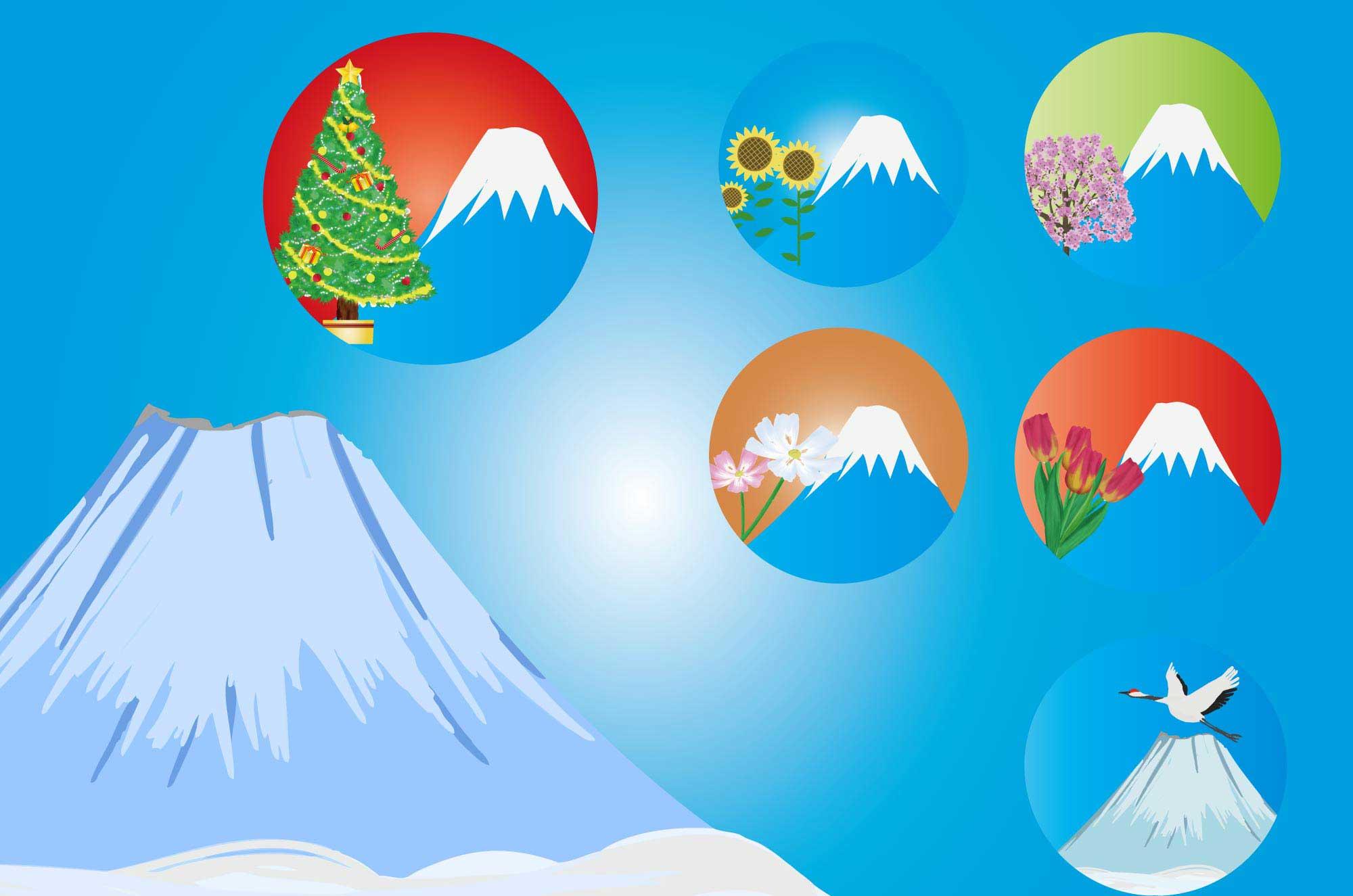 富士山のイラスト 綺麗な季節を感じる自然の無料素材 チコデザ