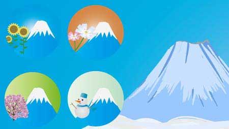 富士山のイラスト - 綺麗な季節を感じる自然の無料素材
