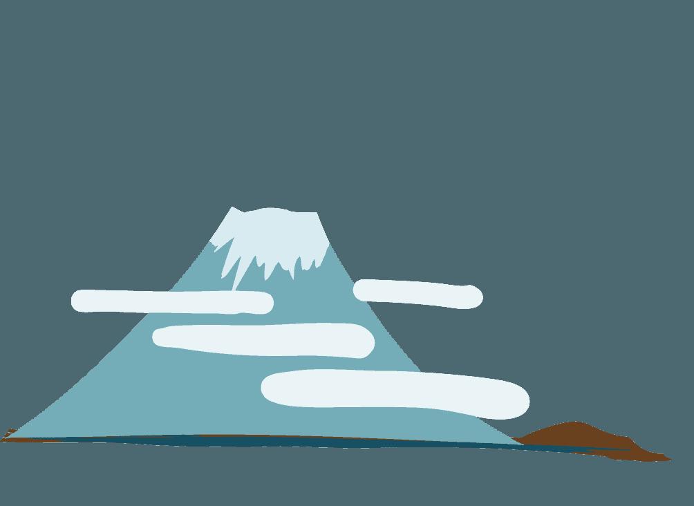 富士山と雲のイラスト