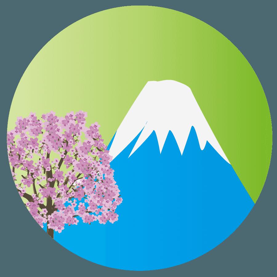 春の桜と富士山のイラスト