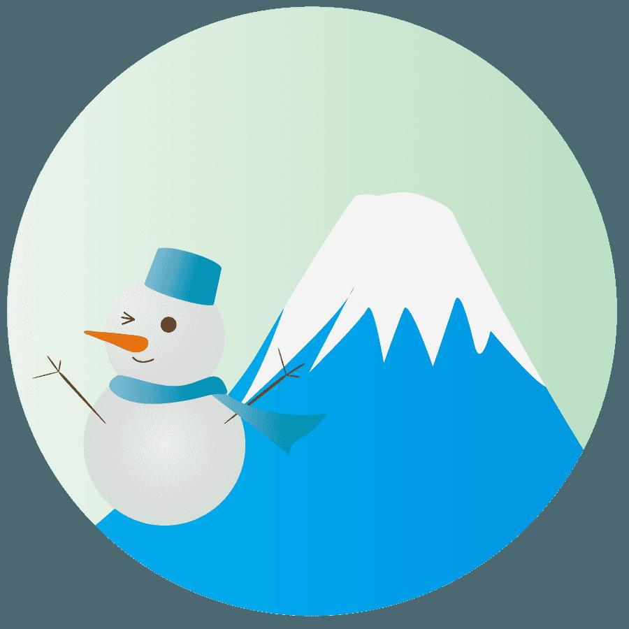 冬の雪だるまと富士山のイラスト
