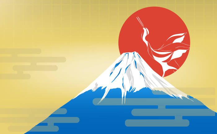 黄金と日の出の富士山のイラスト
