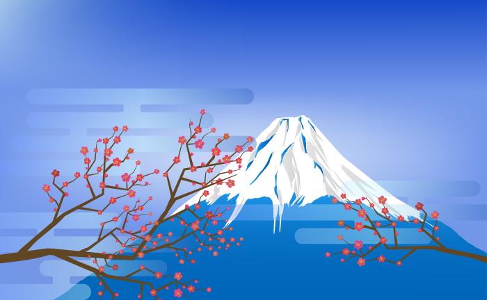 青い富士山のイラスト