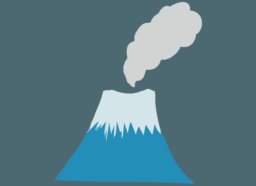 煙が上がる富士山のイラスト