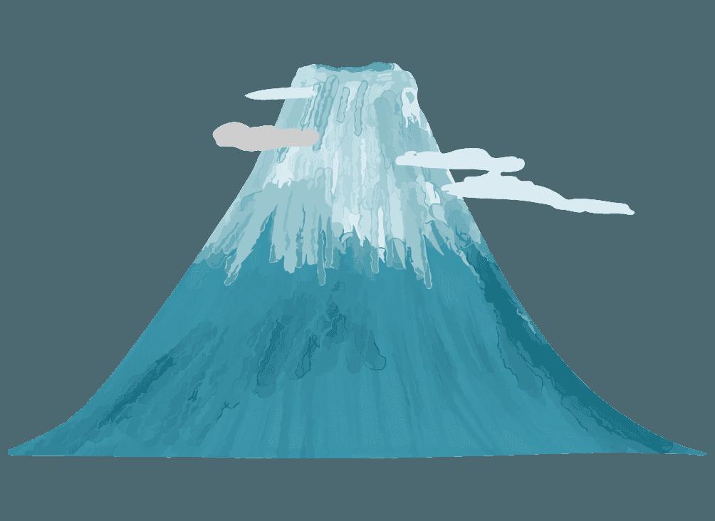 水彩で描く富士山のイラスト