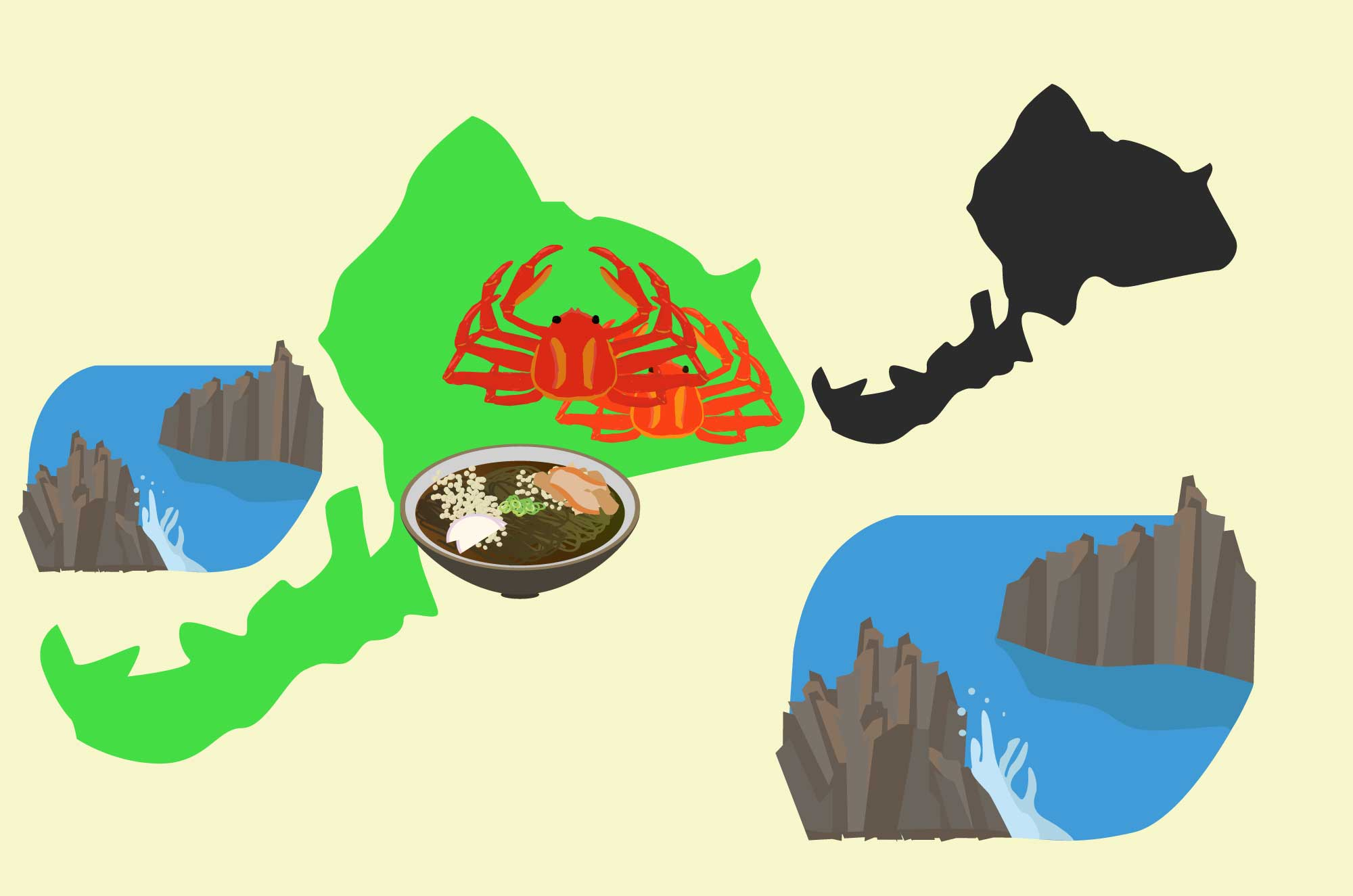 福井の無料イラスト - 越前蟹・東尋坊など地域の素材