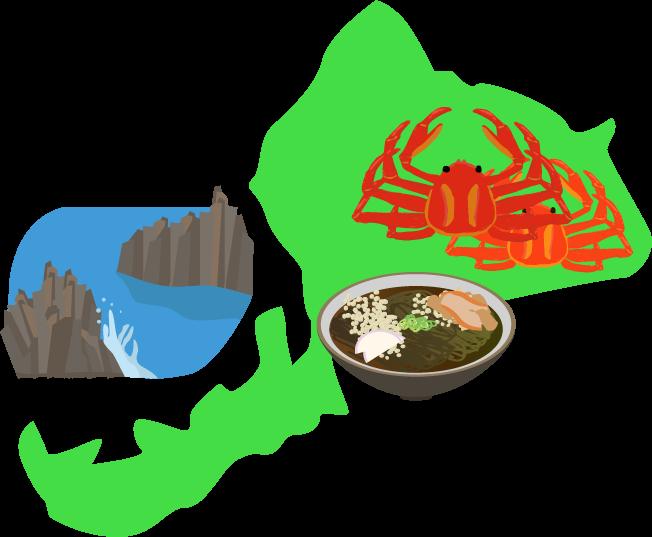 越前蟹・東尋坊と福島の地図イラスト