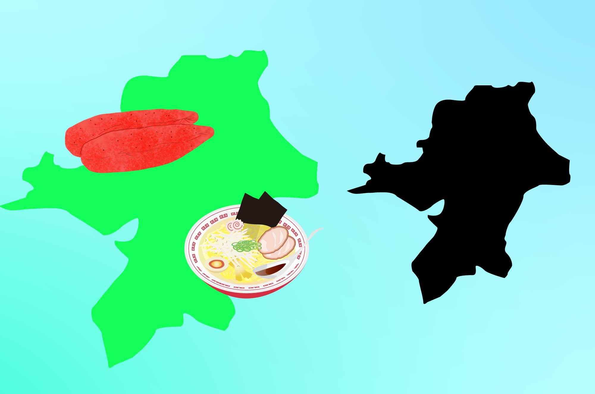 福岡のフリーイラスト - 名産と地図の無料素材