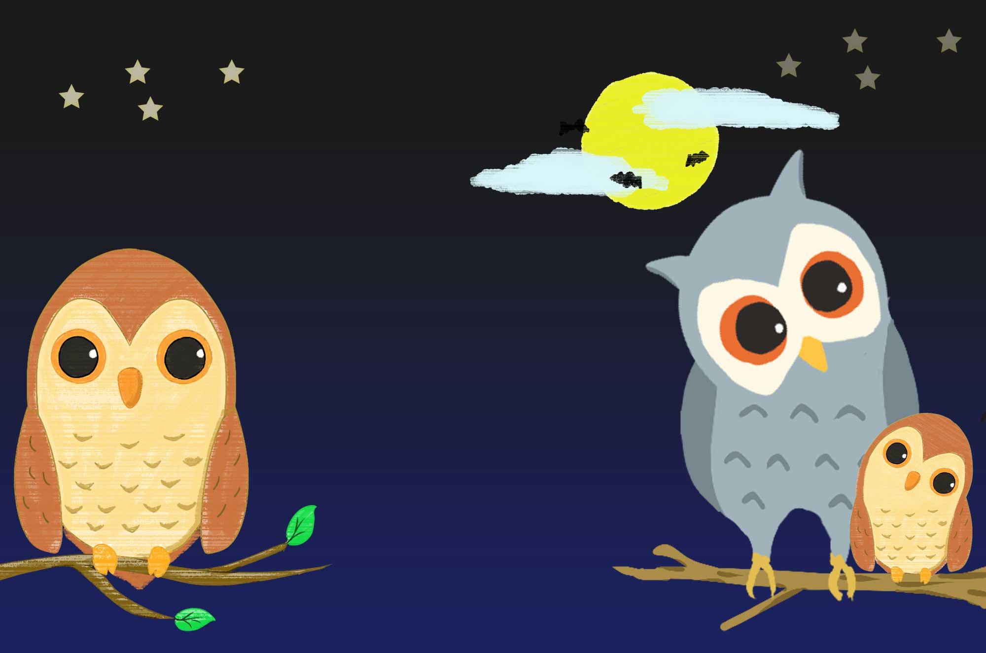 フクロウのイラスト - 月と夜のかわいい鳥の画像集