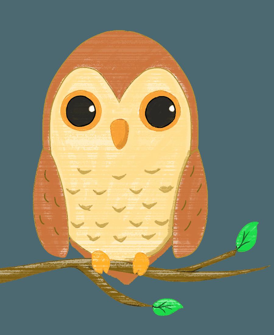 フクロウのイラスト - 月と夜のかわいい鳥の画像集 - チコデザ