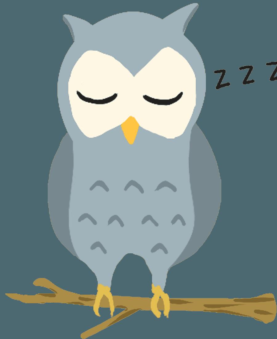 睡眠中のフクロウイラスト