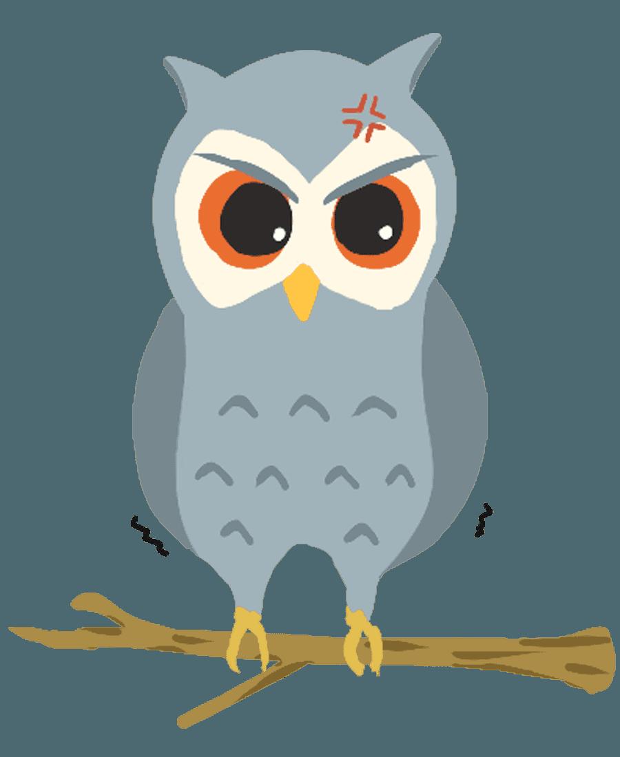 怒るフクロウのフクロウイラスト