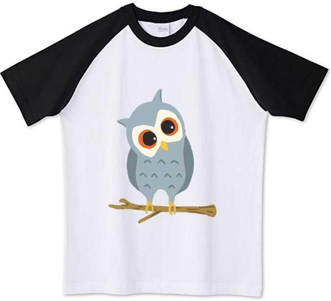 フクロウのラグランTシャツ
