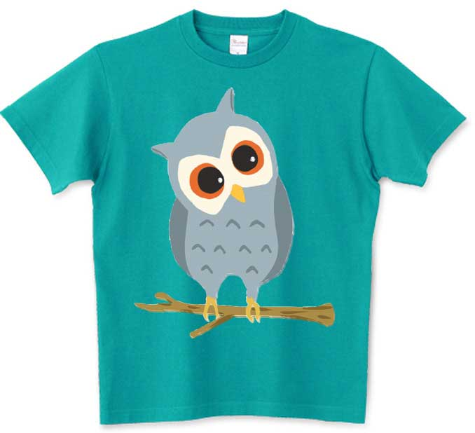 ターコイズカラーのフクロウTシャツ