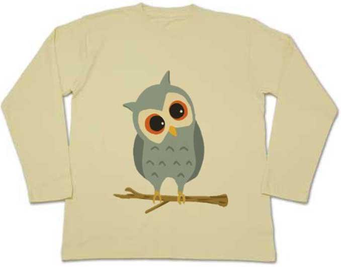 フクロウの長袖Tシャツ