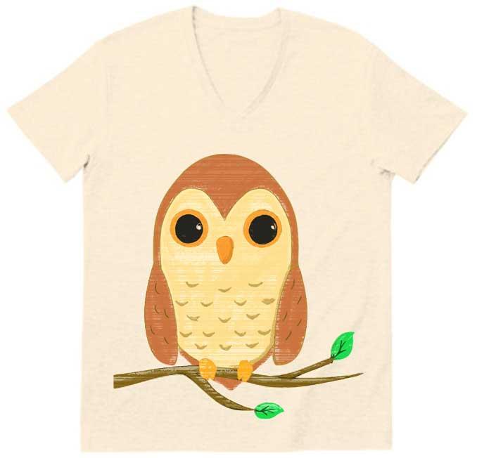 フクロウv字ネックTシャツ