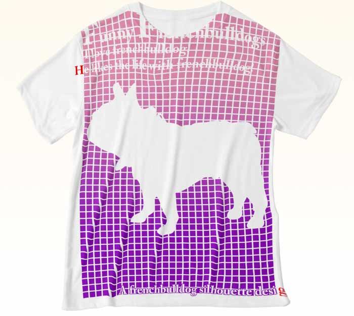 前面大型プリントのフレンチブルドッグTシャツ