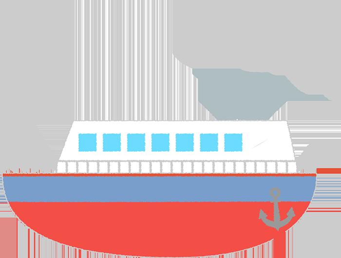 赤い船のイラスト