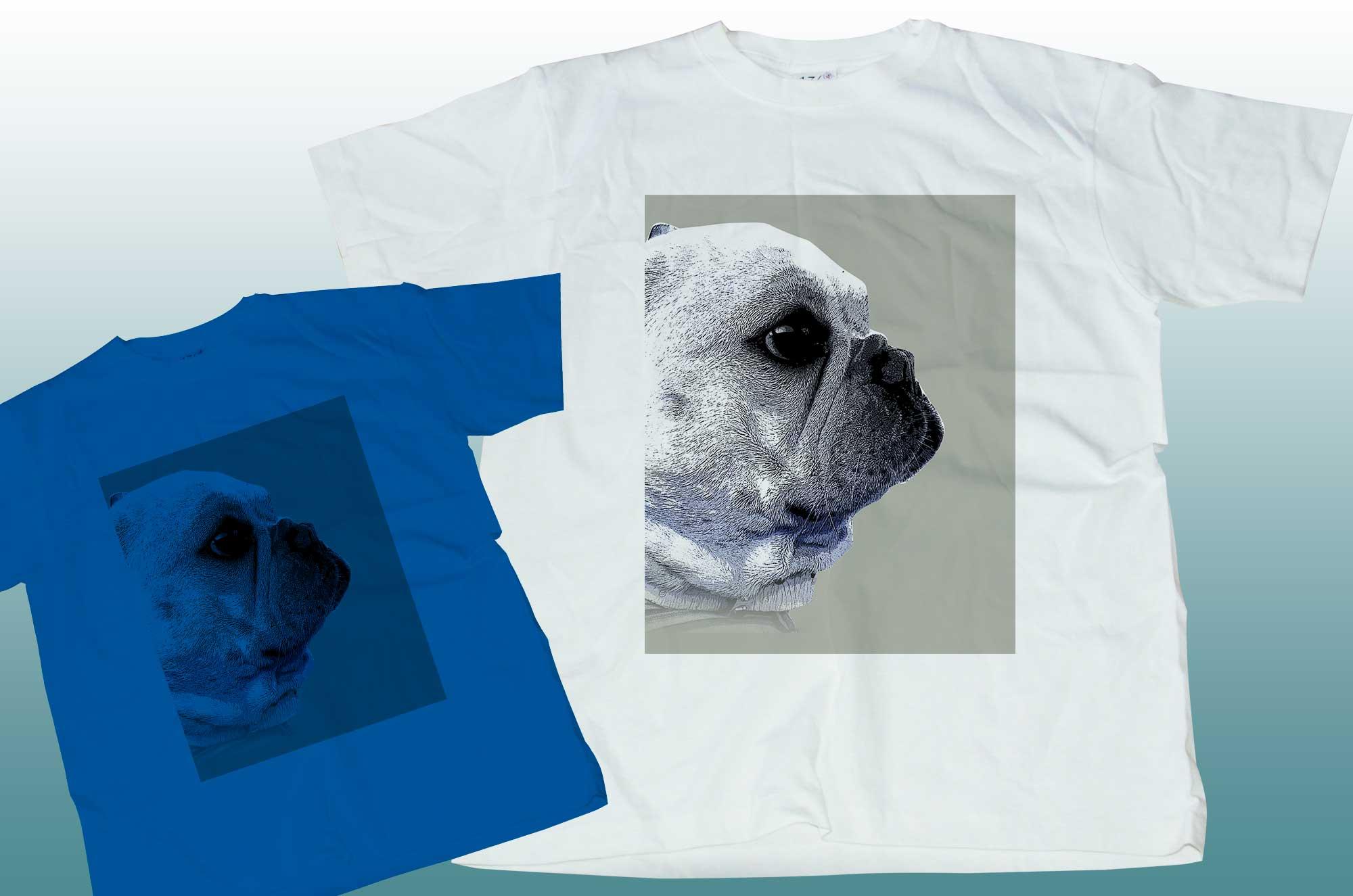 funny-french4デザインTシャツ - フレンチブルドッグの横顔アート