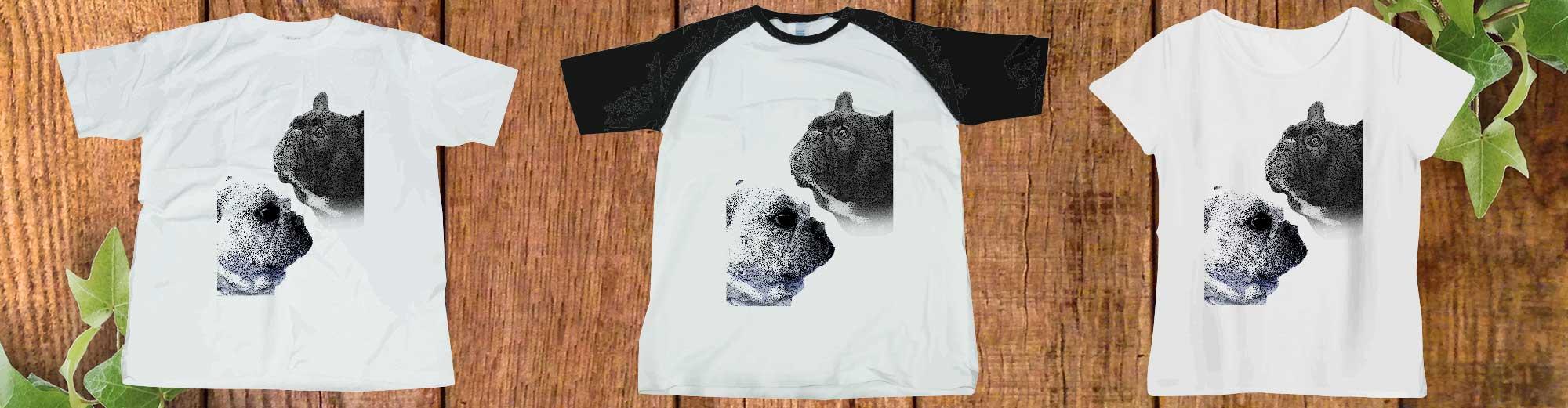 フレンチブルドッグアートphotoTシャツ