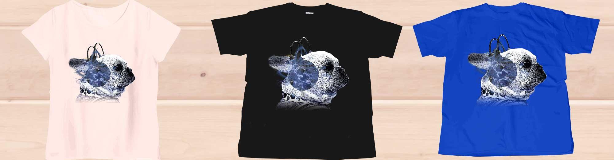 funnyfrenchヘッドホンフレンチブルドッグのTシャツ