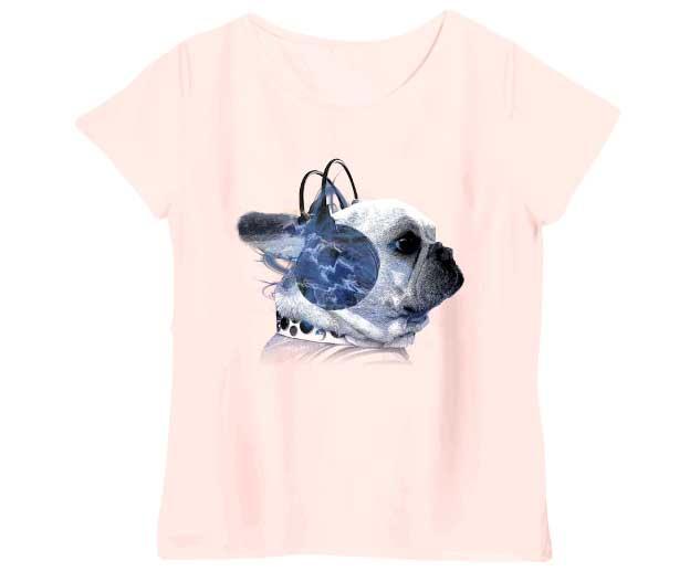 ヘッドホンフレンチブルドッグレディースTシャツ シャーベットピンク