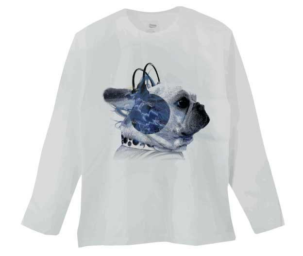 ヘッドホンフレンチブルドッグTシャツ ホワイト