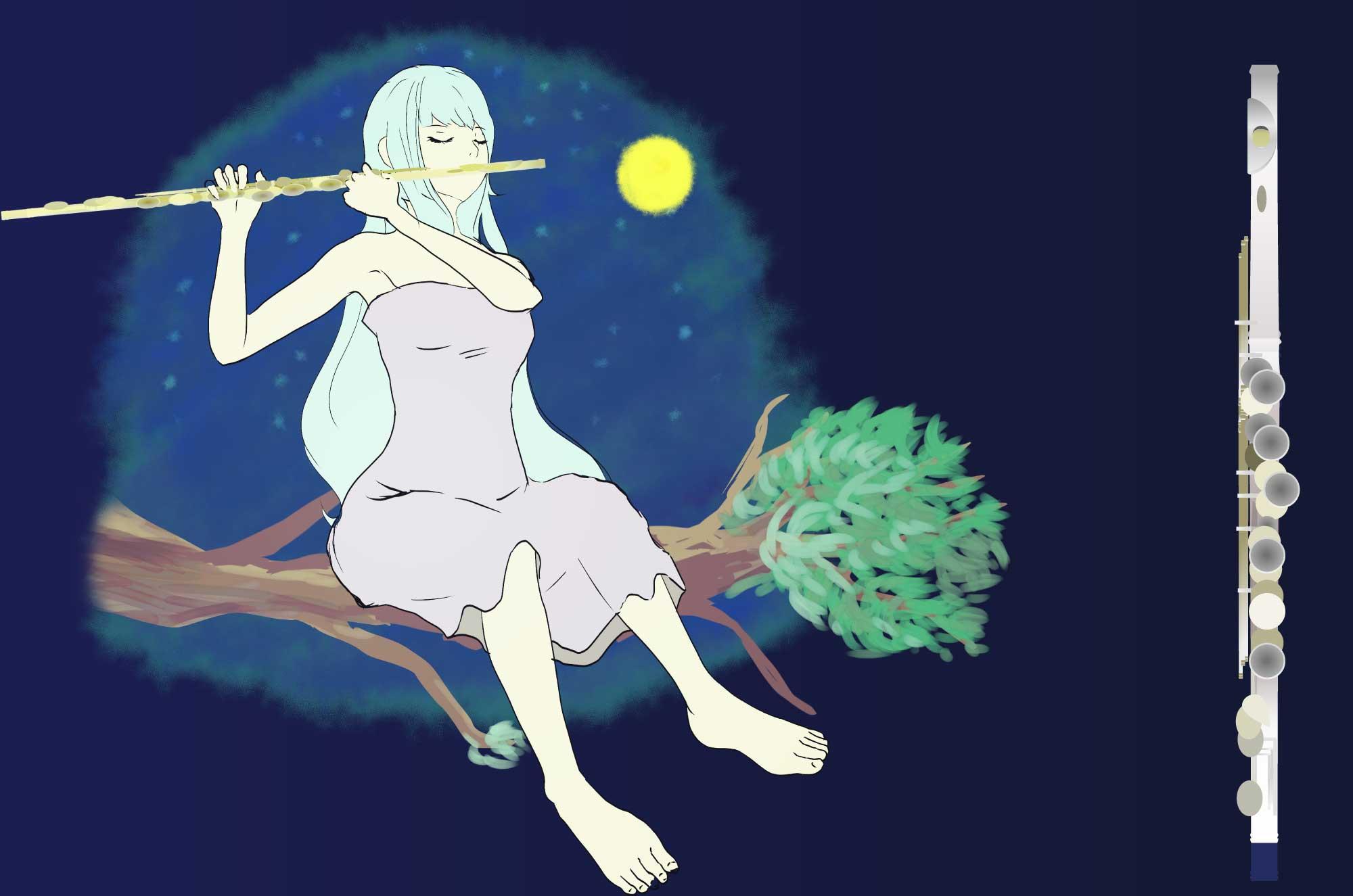 フルートのイラスト - 美しい音色の楽器の無料素材