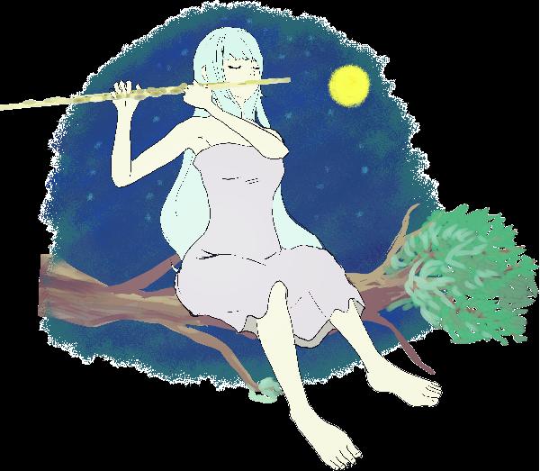 フルートを演奏する可愛い妖精