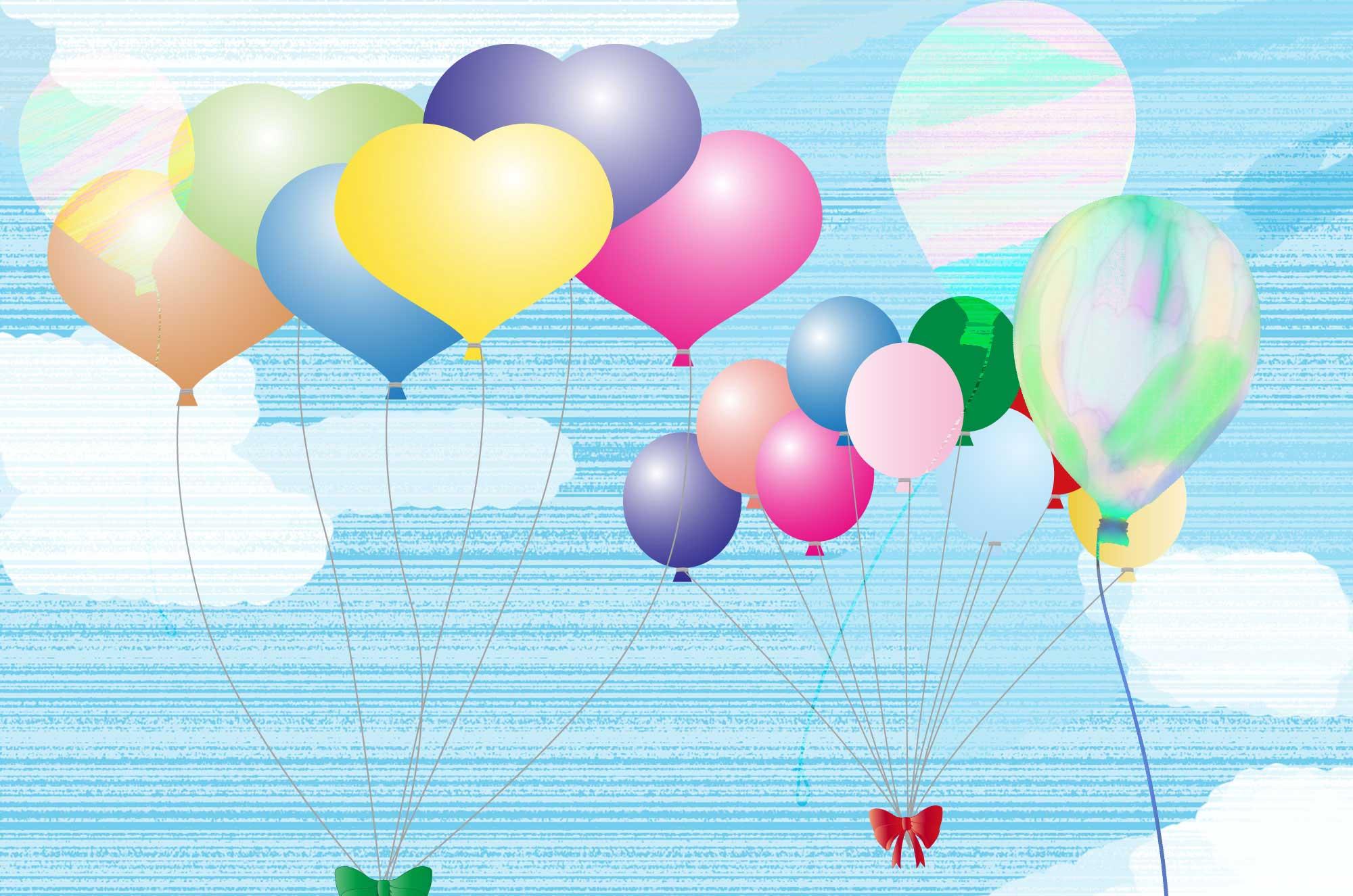 風船イラスト無料素材 - 手書き風やハートの可愛い形も!