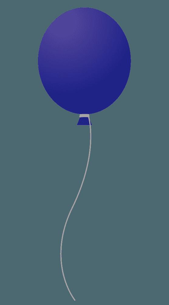 ミッドナイトブルー風船イラスト