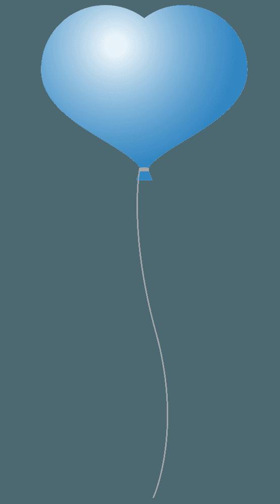 青いハートの形の可愛い風船イラスト